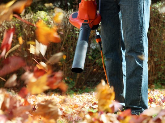 Man working with leaf blower: the leaves are being