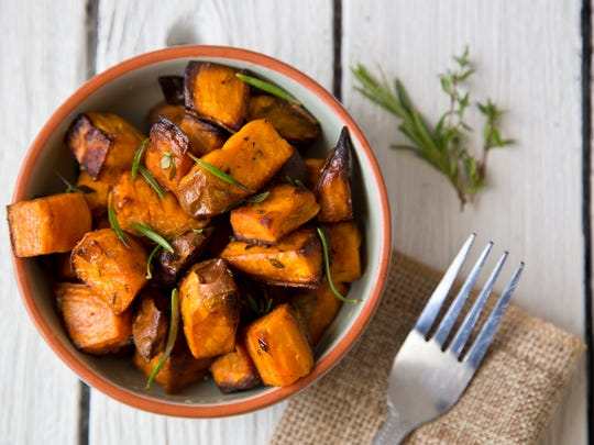 Oven roasted sweet potatoes with thyme and rosemary are easy to prepare, and a delicious and healthy snack.