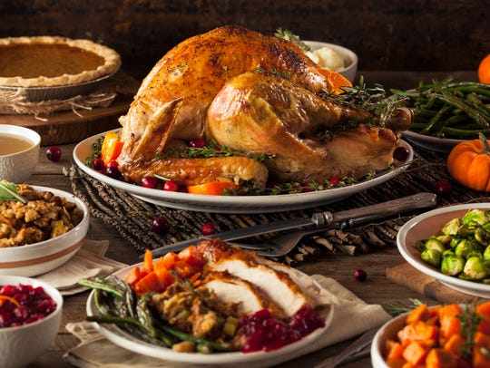Homemade Roasted Thanksgiving Day Turkey with all the