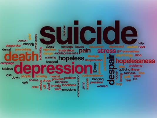 Suicide word cloud with abstract background