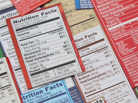 Group of labels showing nutrition facts.