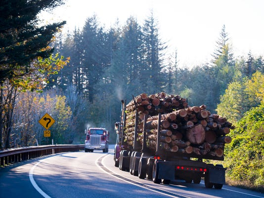Big semi truck with bunch of logs on curving road