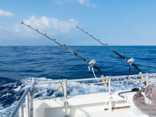 Deep sea sport fishing with rods an reels