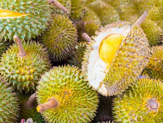 Pile of durian fruits on a Malaysian market
