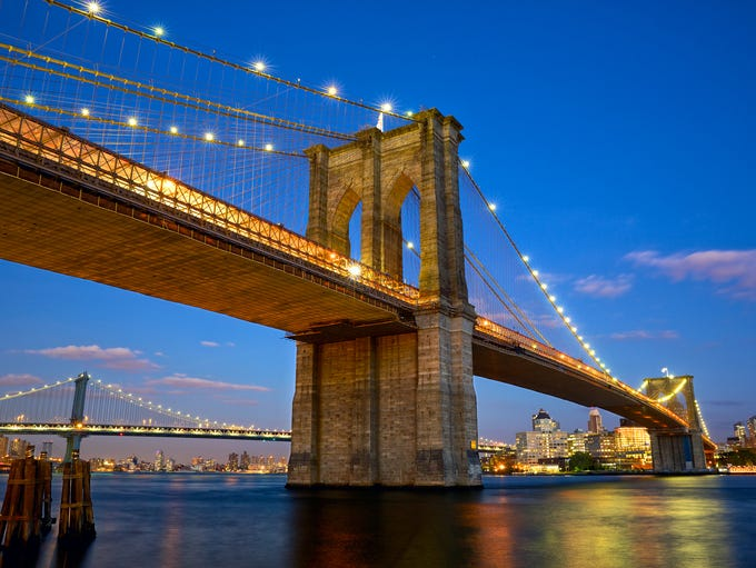 The Brooklyn Bridge in New York City.