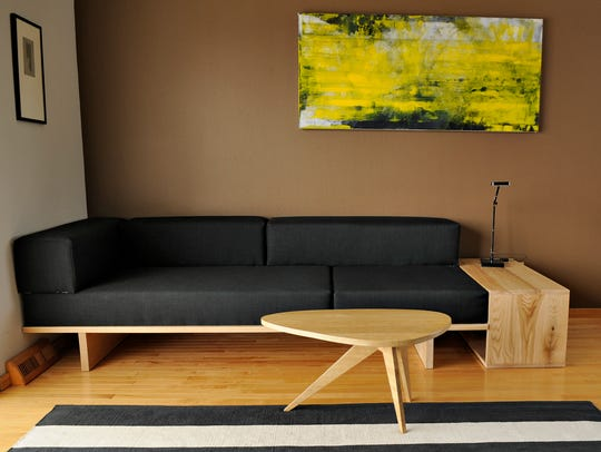 A couch and tables Steve Heymans created for his living