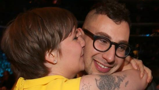 """Actress Lena Dunham of """"Girls"""" and guitarist Jack Antonoff of fun. attend the Grammy awards last year. It's possible Antonoff could be part of a new project, Bleachers, which is set to perform at Firefly this year."""