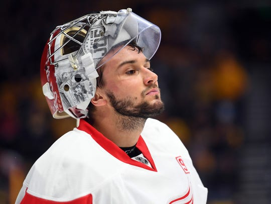 Red Wings goalie Petr Mrazek (34) during the first