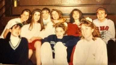 This was most of the Susquehannock varsity team for the 1993-94 season, my junior year. In the front row, from left, is Jessica Fortman (in the white hat), Erin Orwig and Kim Miller; back row, from left, Erin Kirby, Angie Saenz, Kerry McKnight, Kelly Barber, Mindy Spangler and Jess Boehl.