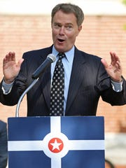 Mayor Joe Hogsett speaks about Placemaking Day in City Market's east plaza, Indianapolis, Wednesday, July 13, 2016.