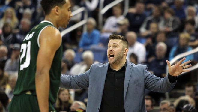 Jase Herl, CSU's interim coach for the final six games of the season, gives instructions to Deion James during a Feb. 25 game at Nevada. Herl was hired as an assistant coach at Missouri State, the Missouri Valley Conference school announced Friday.