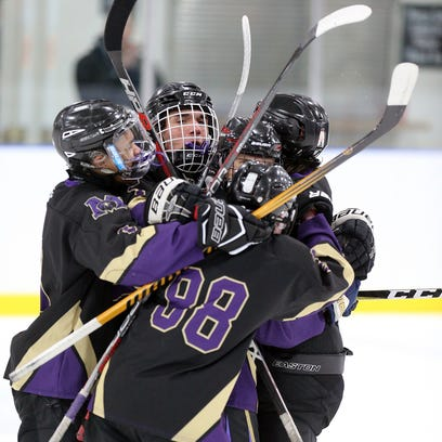 Monroe celebrates its first goal against Colonia during