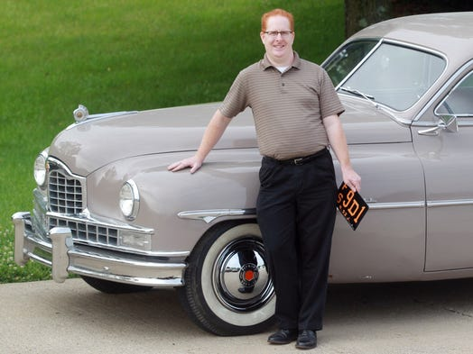"Eric Hansford with his 1949 Packard that was driven by actress Cate Blanchett during the filming of the movie ""Carol."""