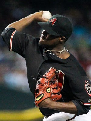 Arizona Diamondbacks starting pitcher Rubby De La Rosa pitches in the first inning at Chase Field in Phoenix, AZ, on Saturday, July 25, 2015.