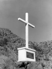 This 1976 photo was taken after Marcus Uribe's monument was repaired and repainted by James W. Ward and his daughter, Dorothy Ward.