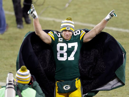 Green Bay Packers wide receiver Jordy Nelson celebrates