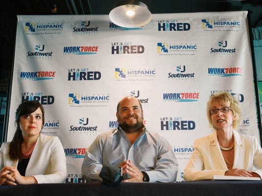 Workforce Solutions Upper Rio Grande CEO Joyce Wilson, right, talked about Wednesday's giant job fair at the El Paso convention center. Pamela Morales of the El Paso Hispanic Chamber of Commerce and Benjamin Arriola of Southwest University of El Paso joined Wilson in the discussion Monday.