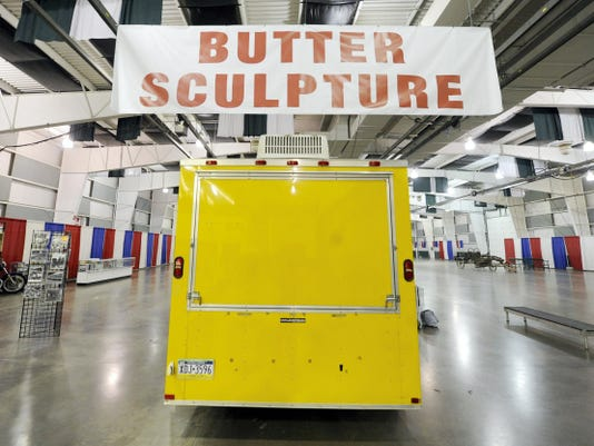 The trailer holding this year's York Fair butter sculpture is currently sitting in the almost empty wing of Memorial Hall at the York Expo Center.