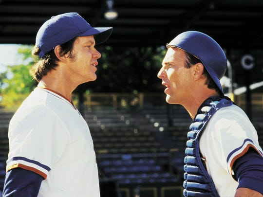 "Kevin Costner (right) explains how baseball is really played to phenom Tim Robbins in ""Bull Durham."""