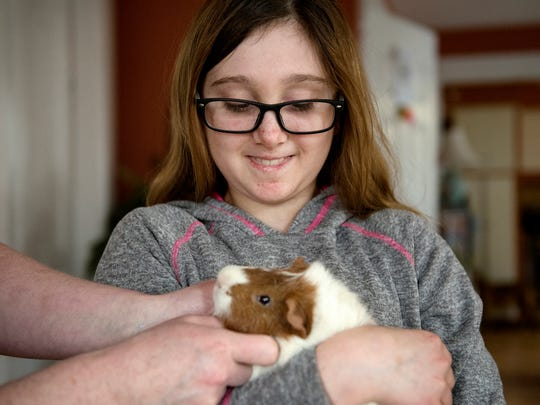 Layla Sands holds her guinea pig Moe while Layla's mother Jen Ellis pets him on Wednesday, March 28, 2018, at their home in Charlotte. Layla has severe aplastic anemia. Her bone marrow is failing. A bone marrow transplant is crucial for Layla, but despite being on the registry for several years, no match has been found.