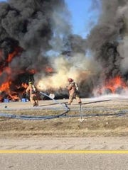 A submitted photo shows the scene of a fiery crash on Ohio 37 in February 2018 that killed Michael Hayden, 38, of Newark.