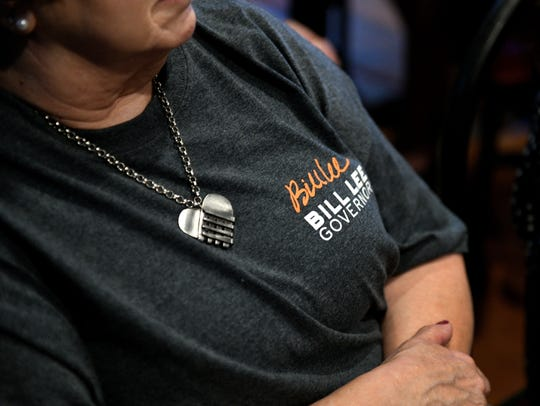 A Bill Lee supporter attends a town hall meeting June