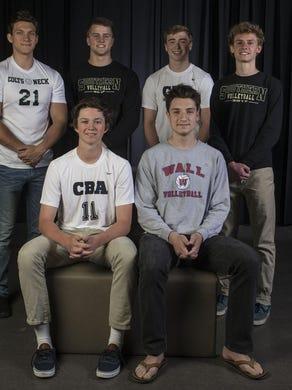 Front: CBA's Jack Dunigan and Wall's Nick Palluzzi. Back: Colts Neck's Nick Panicali, Southern's Shane Bent, CBA's Matthew Kelly and Southern's Matt Maxwell.