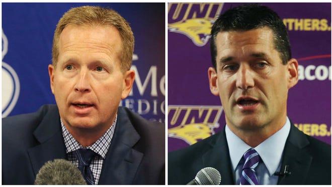 Drake coach Ray Giacoletti and Northern Iowa coach Ben Jacobson.
