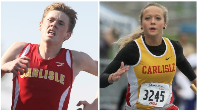Carlisle track and field runners J.J. Orput and Taylor Dubois.