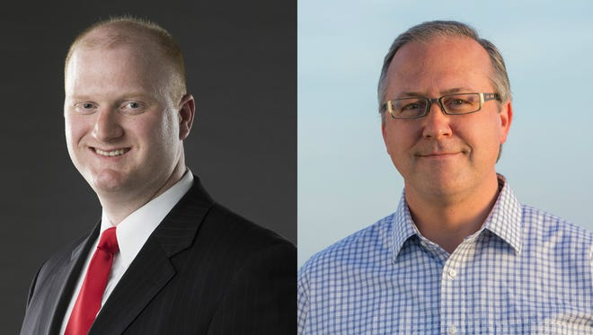 Democrat Jim Mowrer, left, and Republican incumbent U.S. Rep. David Young are competing to represent Iowa's 3rd Congressional District in the U.S. House of Representatives.