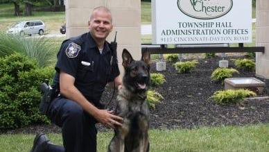 West Chester Township K9 Police Officer Brent Lovell and his new partner Ciro. The 1-year-old German shepherd recently began his duties. Ciro is one of three dogs in West Chester's K9 unit and replaces police dog Canto, who died earlier this year from natural causes.