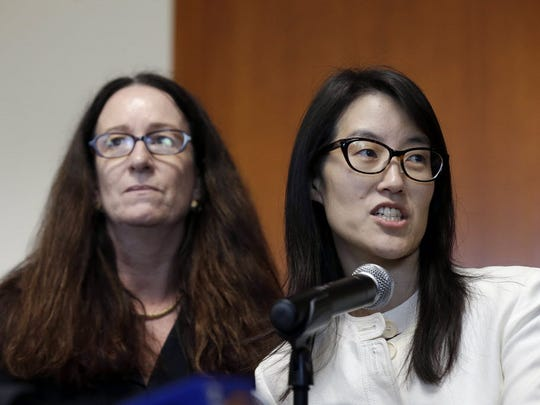"Therese Lawless, left, with her client Ellen Pao. ""Leadership"