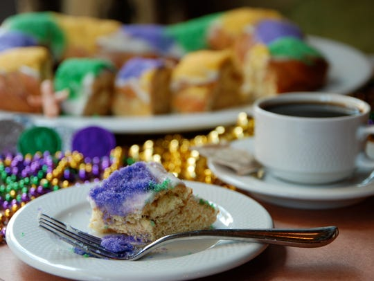 King cakes are a seasonal treat served during Mardi