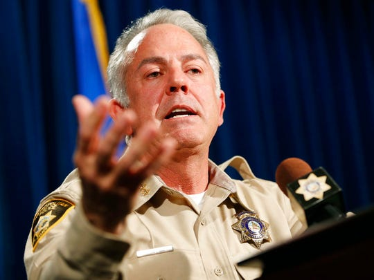 Clark County Sheriff Joe Lombardo discusses the Route 91 Harvest Festival mass shooting during a news conference at the Las Vegas Metropolitan Police Department headquarters, Friday, Jan. 19, 2018, in Las Vegas.