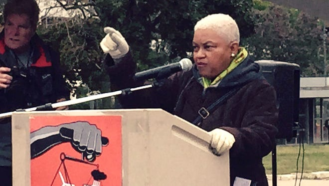 Maureen Taylor, head of the Michigan WelfareRights Organization, speaks at the Detroit March for Justice, on Oct. 3, 2015 at Hart Plaza in Detroit.