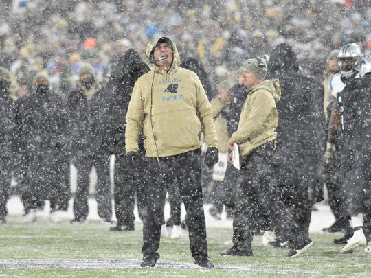 GREEN BAY, WISCONSIN - NOVEMBER 10: Head coach Ron Rivera of the Carolina Panthers watches the video replay during the fourth quarter against the Green Bay Packers at Lambeau Field on November 10, 2019 in Green Bay, Wisconsin. (Photo by Quinn Harris/Getty Images)