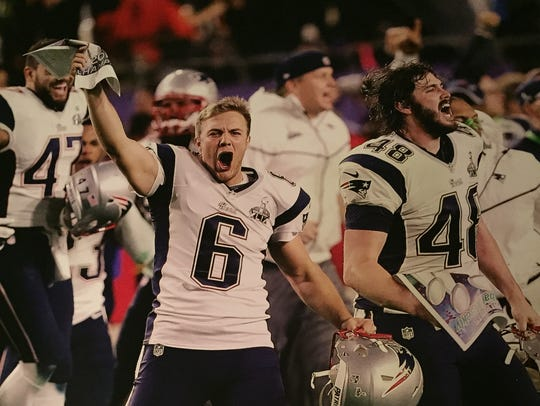New England Patriots punter Ryan Allen celebrates during