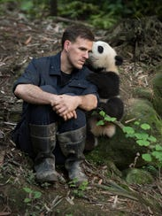 Jake Owens, a wildlife conservation biologist, bonds with a giant panda at Panda Valley, an enclosure that prepares pandas for the wild, in Dujiangyan, China.