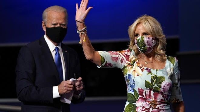 Jill Biden, wife of Democratic presidential candidate former Vice President Joe Biden, waves after the second and final presidential debate Thursday, Oct. 22, 2020, at Belmont University in Nashville, Tenn., with President Donald Trump.