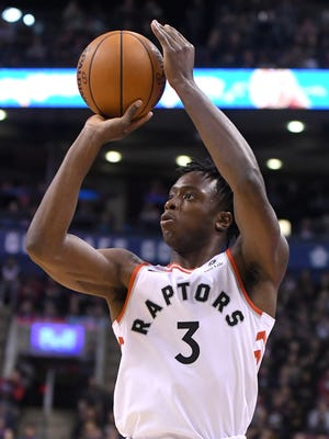 Nov 9, 2017; Toronto, Ontario, CAN;   Toronto Raptors forward OG Anunoby (3) takes a shot for a basket in the second half against New Orleans Pelicans at Air Canada Centre.