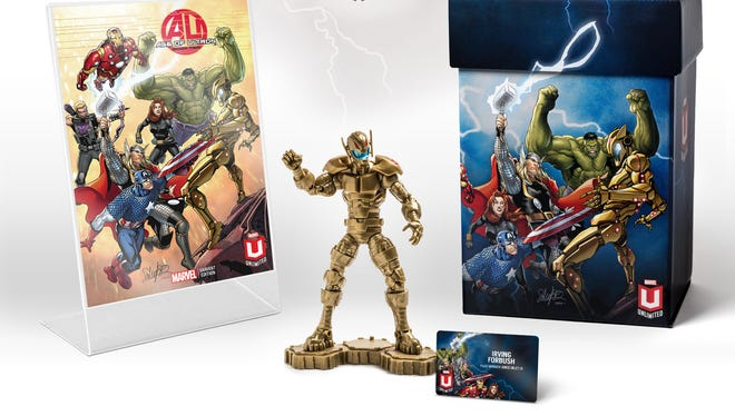 The Marvel Unlimited Plus welcome kit includes an Ultron action figure, issue of 'Age of Ultron' and a membership card.