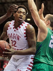 UL's Bryce Washington works down low in the Cajuns'