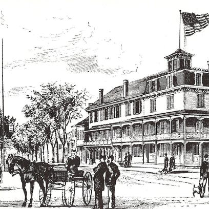 The Hyde Park Hotel, right, was the first lodging establishment to exist in the town. Located on the northwest corner of today's Route 9 and West Market Street, it was destroyed by fire in March 1879.