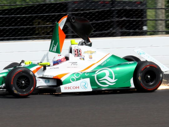Juncos Racing IndyCar driver Spencer Pigot (11) hits