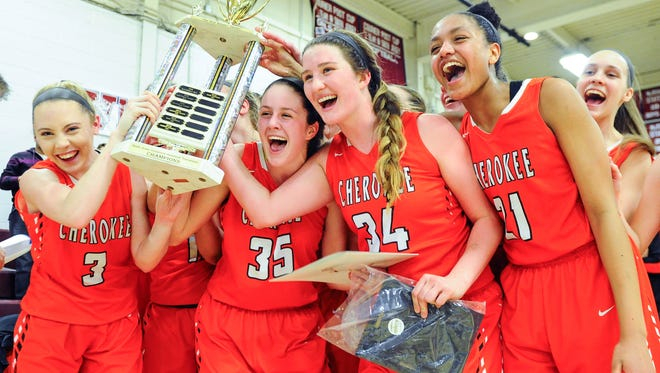 Cherokee girls basketball players pose for a picture with SJIBT championship trophy after defeating Gloucester Catholic in February.