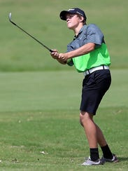 Wall's Coleman Coon hits the ball during the UIL Class 3A state golf tournament during his freshman year in 2016.