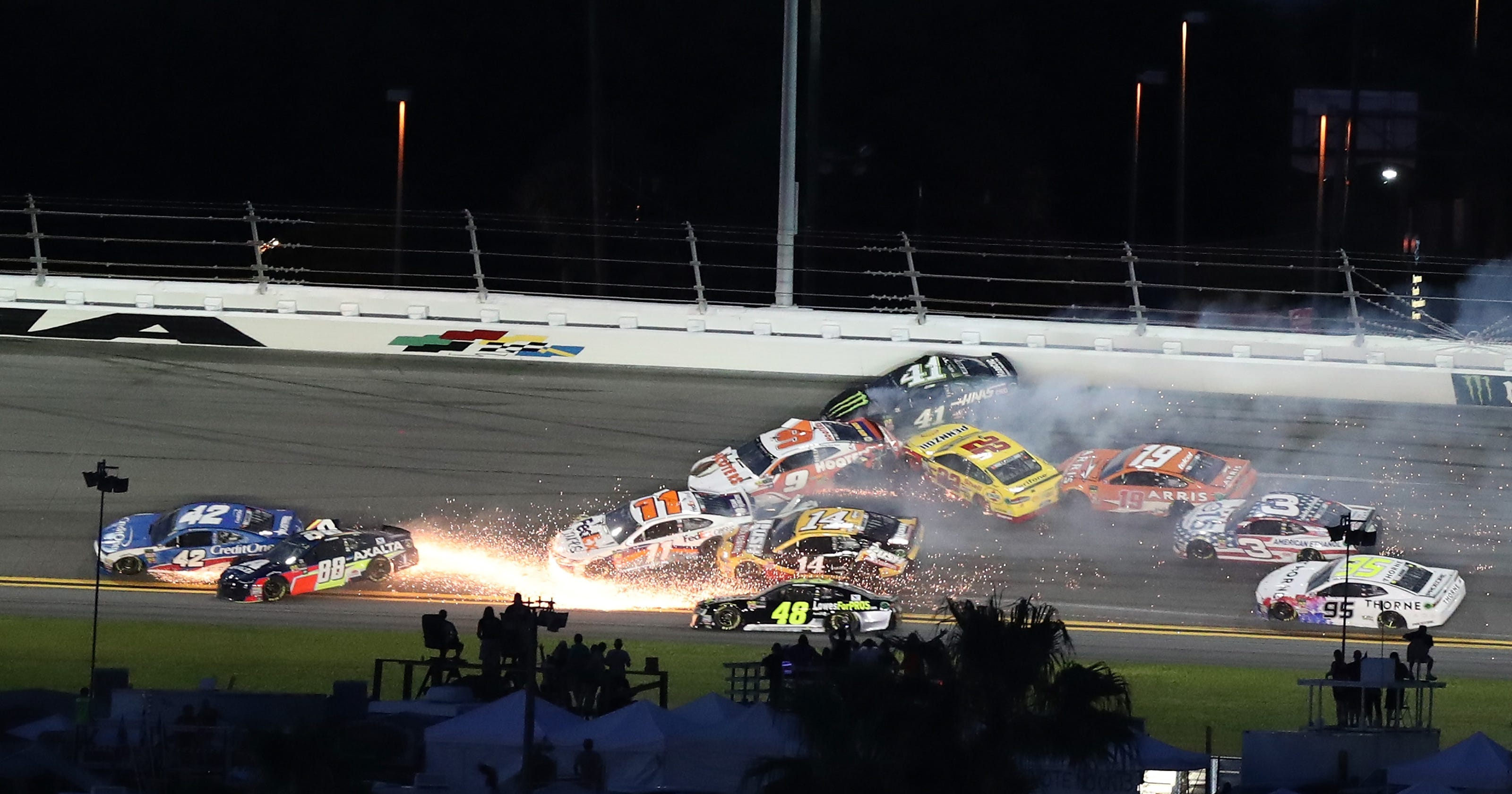 NASCAR: Half the Daytona field collides in massive crash in Cup race