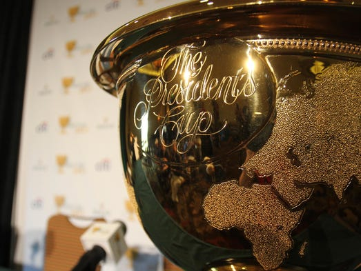The Presidents Cup during a press conference announcing the 2015 Presidents Cup team captains on Wednesday, June 4, 2014