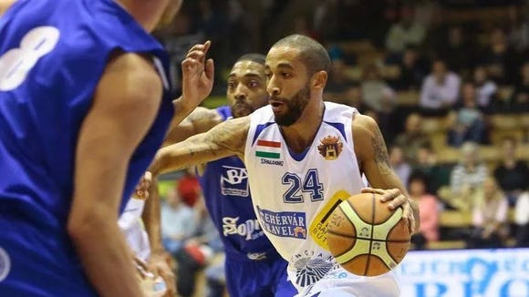 Former MSU guard Brandon Wood is shown during a recent game for Alba.