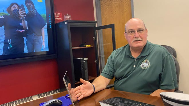"""Pueblo County Sheriff Kirk Taylor talks as he displays body cam footage that reveals the full story behind the """"Blue Klux Klan"""" incident."""